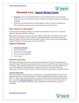 Alzheimer's Dementia | Elderly Care Centre in mumbai |Jagruti Rehab Centre