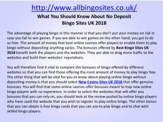 What You Should Know About No Deposit Bingo Sites UK 2018