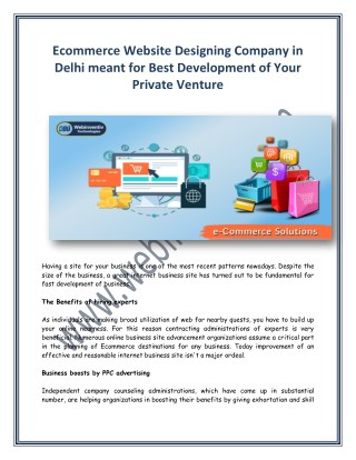 Ecommerce Website Designing Company in Delhi for Best Development