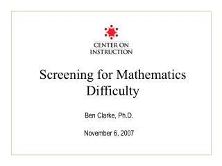 Screening for Mathematics Difficulty