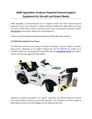 AERO Specialties Produces Powerful Ground Support Equipment for Aircraft and Airport Needs