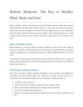 Holistic Medicine: The Key To Healthy Mind, Body And Soul