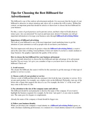 Tips for Choosing the Best Billboard for Advertisement
