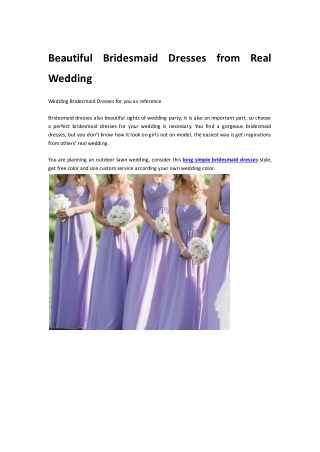Beautiful Bridesmaid Dresses from Real Wedding