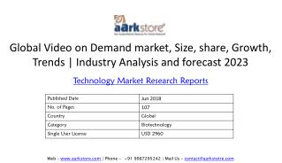 Global Video on Demand market, Size, share, Growth, Trends | Industry Analysis and forecast 2023