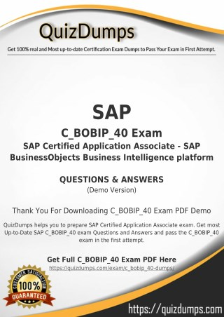 C_BOBIP_40 Exam Dumps - Preparation with C_BOBIP_40 Dumps PDF [2018]