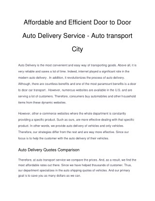 Affordable and effiicient door to door auto delivery service auto transport city