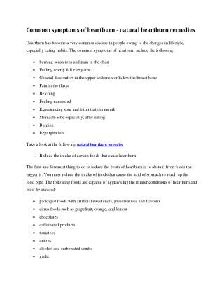 Common symptoms of heartburn - natural heartburn remedies