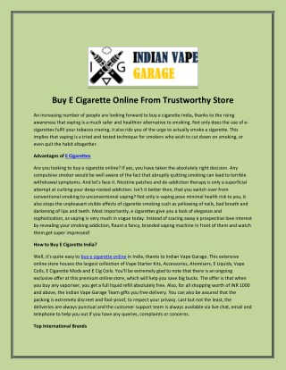Buy E Cigarette Online From Trustworthy Store