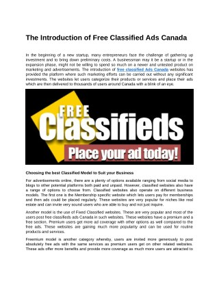 The Introduction of Free Classified Ads Canada