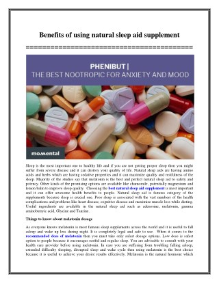 Benefits of using natural sleep aid supplement