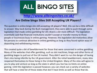 Are Online bingo Sites Still Accepting UK Players?