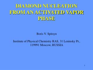 DIAMOND NUCLEATION FROM AN ACTIVATED VAPOR PHASE