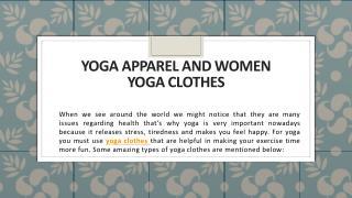 Yoga Apparel and Women Yoga Clothes