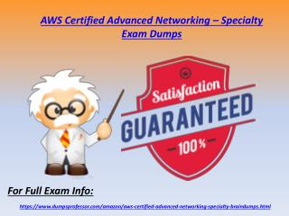 Valid AWS Certified Advanced Networking - Specialty Dumps - Amazon Exam Questions