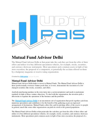 Mutual Fund Advisor Delhi