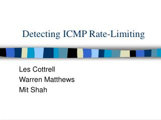 Detecting ICMP Rate-Limiting