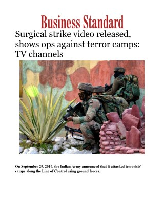 Indian army surgical strike video released, shows ops against terror camps: TV channels