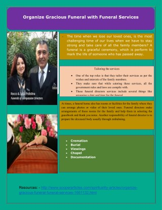 Organize Gracious Funeral with Funeral Services