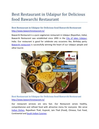 Best Restaurant in Udaipur for Delicious food Bawarchi Restaurant