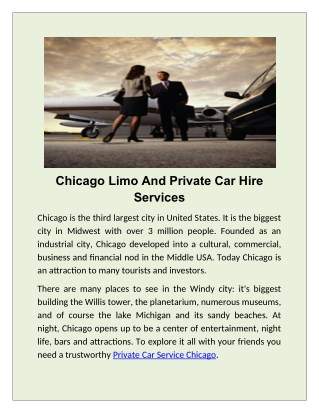 Book Limo and Airport Limousine Tour in Chicago