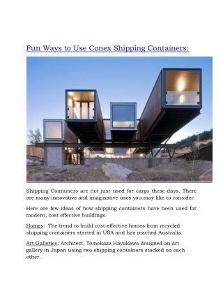 Fun Ways to Use Conex Shipping Containers