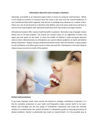 Information about the main concepts in dentistry