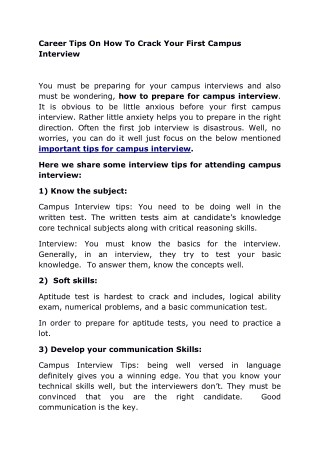 Career Tips On How To Crack Your First Campus Interview
