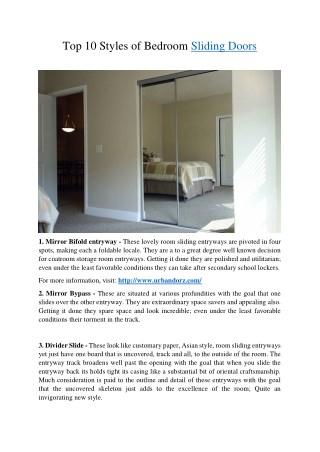 Top 10 Styles of Bedroom Sliding Doors
