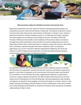 ECO 365 Principles of Microeconomics Week 1 to 5