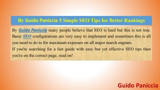 Guido Paniccia Talking about 5 Simple SEO Tips