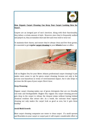 How Organic Carpet Cleaning Can Keep Your Carpet Looking New for Years