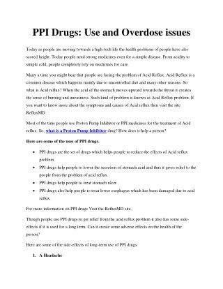 PPI Drugs : Use and Overdose issues
