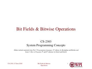 Bit Fields & Bitwise Operations