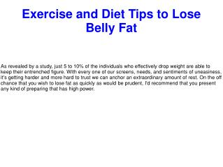 Exercise and Diet Tips to Lose Belly Fat