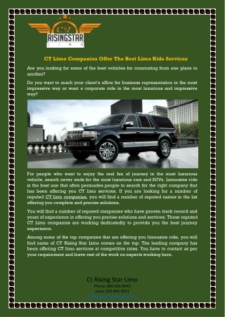 CT Limo Companies Offer The Best Limo Ride Services