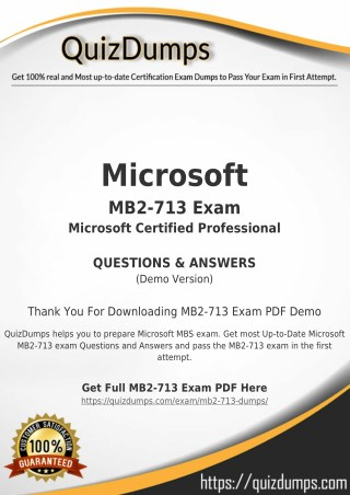 MB2-713 Exam Dumps - Prepare MB2-713 Dumps PDF [2018]