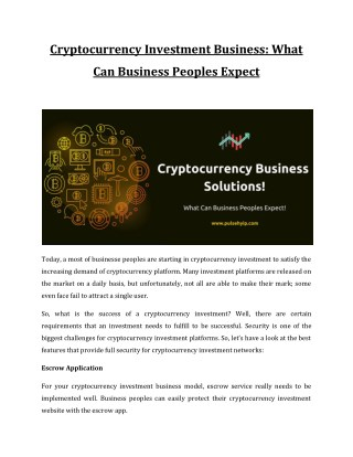 Cryptocurrency Investment Business: What Can Business Peoples Expect