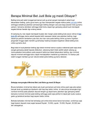 | 7LIVEBET | LIGA BOLA 88 | JUDI BOLA | JUDI ONLINE |
