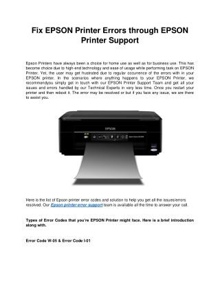 Fix EPSON Printer Errors through EPSON Printer Support