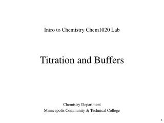 Titration and Buffers