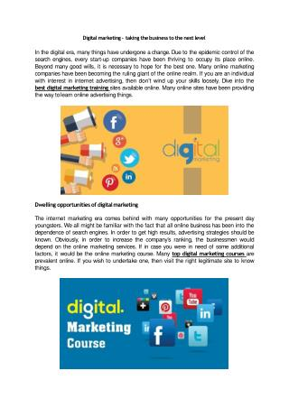 Digital marketing – taking the business to the next level