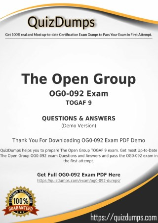 OG0-092 Exam Dumps - Preparation with OG0-092 Dumps PDF [2018]