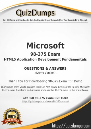 98-375 Exam Dumps - Download 98-375 Dumps PDF [2018]