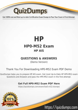 HP0-M52 Exam Dumps - Get HP0-M52 Dumps PDF