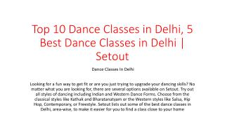 Top 10 Dance Classes in Delhi, 5 Best Dance Classes in Delhi | Setout