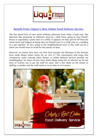 Benefit From Calgary's Best Online Food Delivery Service