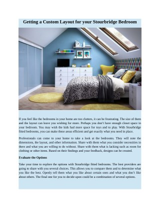 Getting a Custom Layout for your Stourbridge Bedroom