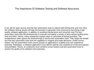 The Importance Of Software Testing and Software Assurance