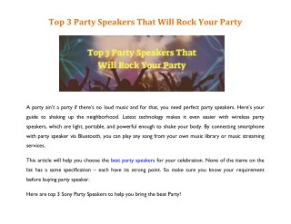 Top 3 Party Speakers That Will Rock Your Party